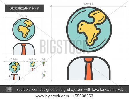 Globalization vector line icon isolated on white background. Globalization line icon for infographic, website or app. Scalable icon designed on a grid system.