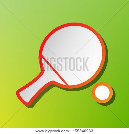 Ping Pong Paddle With Ball. Contrast Icon With Reddish Stroke On Green Backgound.