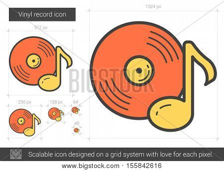 Vinyl record vector line icon isolated on white background. Vinyl record line icon for infographic, website or app. Scalable icon designed on a grid system.