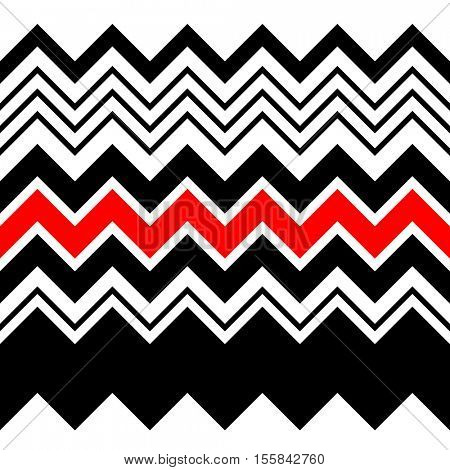 Seamless Zigzag Pattern. Abstract Black and Red Stripe and Line Background. Vector Regular Zig Zag Geometric Texture. Minimal Print Design. Decorative Fashion Ornament