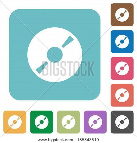 DVD disk white flat icons on color rounded square backgrounds