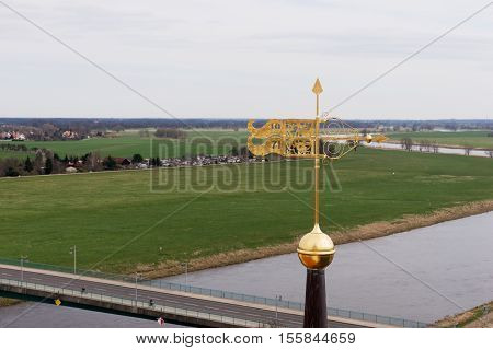 View of the bridge and river Elbe in Torgau, Saxony, Germany