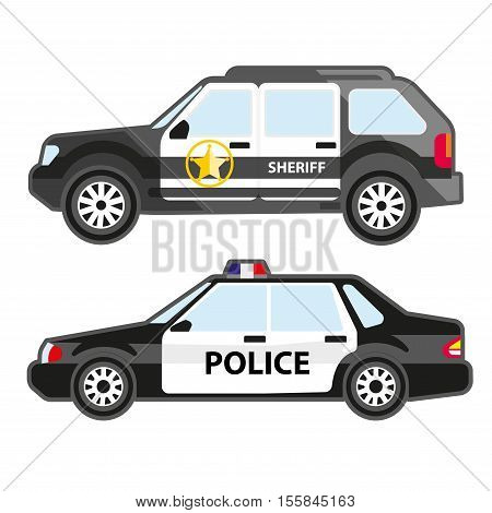 Set of police automobiles. Urban patrol vehicle and car of sheriff. Symbol of security service, 911 or cop. Vector illustration isolated on white background. Flat icons for design.