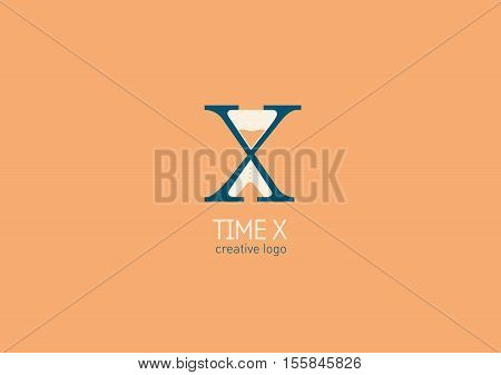 Creative logo with a double meaning the letter X and hourglass