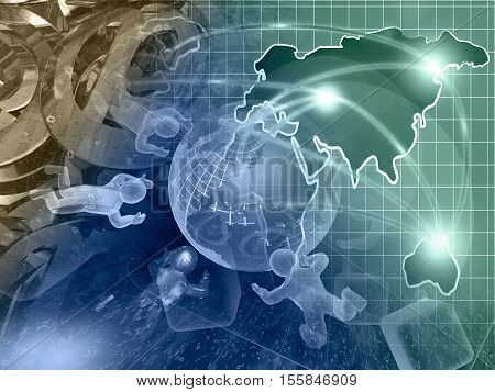 Computer background with globe mans and map toned.