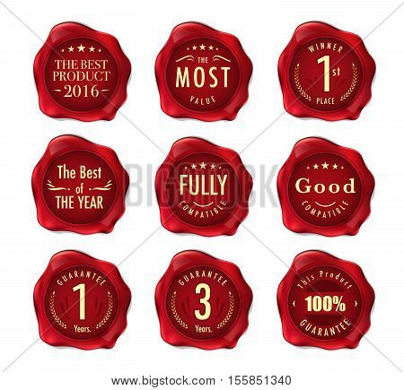 Set Of Wax Stamp. Stamp On Red Wax Seal Isolated On White. Business Concept. Vector Stock.