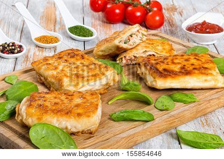 Grilled Pita Or Flatbread Stuffed With Chicken Meat