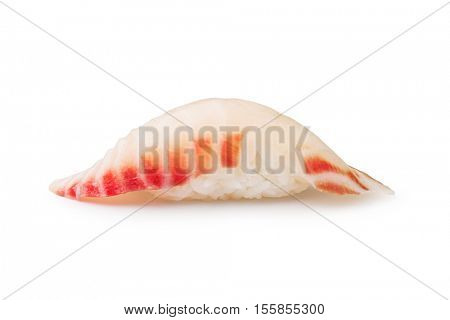 closeup of a tai sushi on a white background
