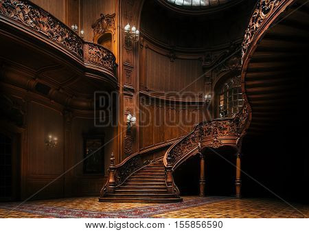 Lviv Ukraine - 23 September 2016: House of Scientists. Magnificent mansion with ornate grand wooden staircase in the great hall. A former national casino.