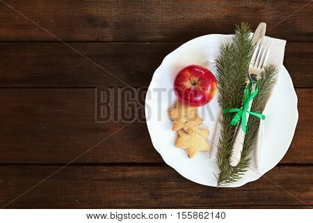 Christmas Decoration Cutlery On Old Wooden Brown Background