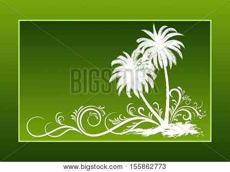 Tropical Landscape, Palms Trees And Grass Brown Silhouettes on a Yellow Background with Frame of Blots. Vector