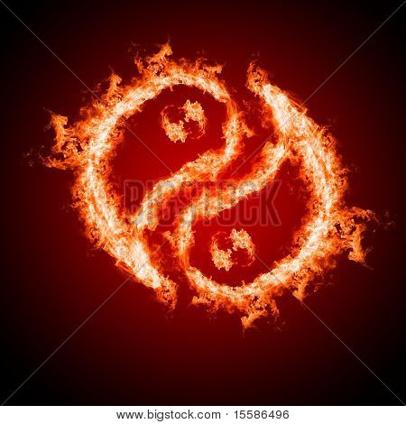 Symbol of yin and yang of the dark background in a flame. The sign of the two elements.