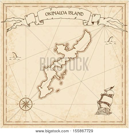 Okinawa Island Old Treasure Map. Sepia Engraved Template Of Pirate Island Parchment. Stylized Manusc