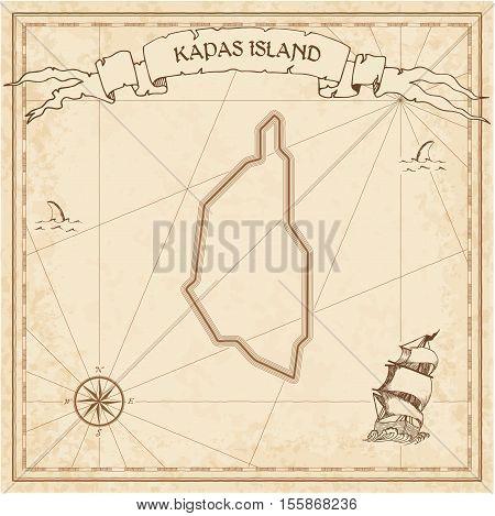 Kapas Island Old Treasure Map. Sepia Engraved Template Of Pirate Island Parchment. Stylized Manuscri