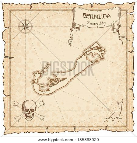Bermuda Old Pirate Map. Sepia Engraved Parchment Template Of Treasure Island. Stylized Manuscript On