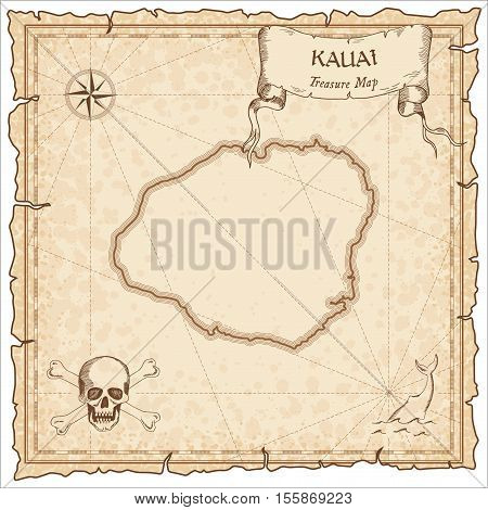 Kauai Old Pirate Map. Sepia Engraved Parchment Template Of Treasure Island. Stylized Manuscript On V