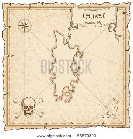 Phuket Old Pirate Map. Sepia Engraved Parchment Template Of Treasure Island. Stylized Manuscript On