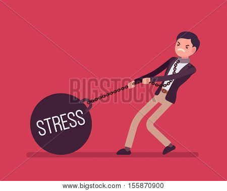 Businessman dragging a giant heavy weight on chain, written Stress on a ball. Cartoon vector flat-style concept illustration