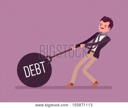 Businessman dragging a giant heavy weight on chain, written Debt on a ball. Cartoon vector flat-style concept illustration