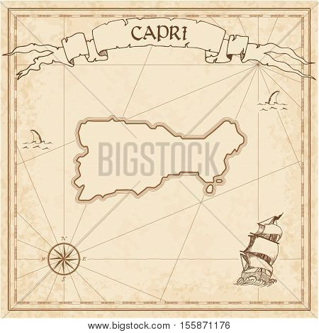 Capri Old Treasure Map. Sepia Engraved Template Of Pirate Island Parchment. Stylized Manuscript On V