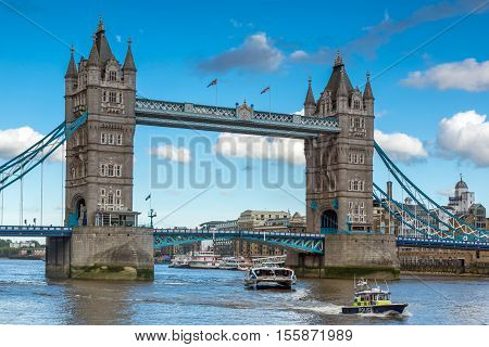 LONDON, ENGLAND - JUNE 15 2016: Sunset view of Tower Bridge in London in the late afternoon, England, United Kingdom