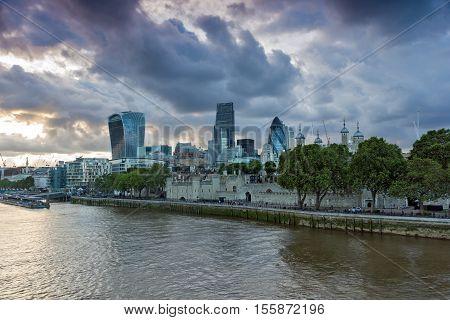 LONDON, ENGLAND - JUNE 15 2016: Night Skyline of London From Tower Bridge, England, United Kingdom