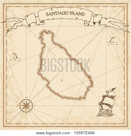 Santiago Island Old Treasure Map. Sepia Engraved Template Of Pirate Island Parchment. Stylized Manus