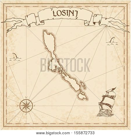Losinj Old Treasure Map. Sepia Engraved Template Of Pirate Island Parchment. Stylized Manuscript On