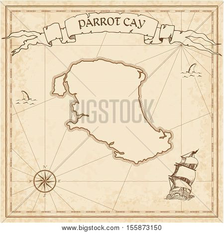 Parrot Cay Old Treasure Map. Sepia Engraved Template Of Pirate Island Parchment. Stylized Manuscript