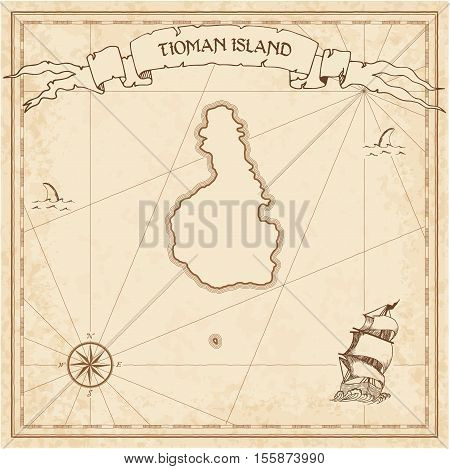 Tioman Island Old Treasure Map. Sepia Engraved Template Of Pirate Island Parchment. Stylized Manuscr