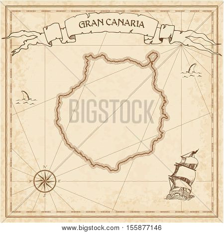 Gran Canaria Old Treasure Map. Sepia Engraved Template Of Pirate Island Parchment. Stylized Manuscri