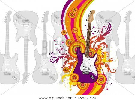 Illustration with guitar, rainbow waves & ornament