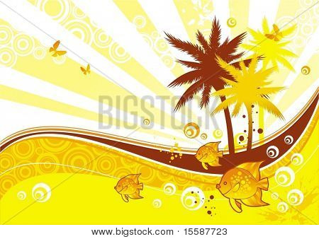 Sunny illustration with tropical flora & fauna