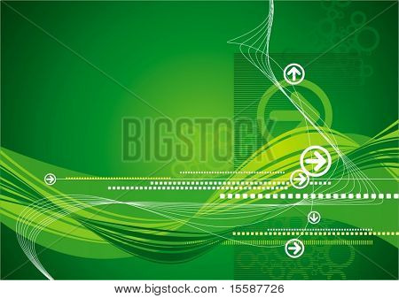 Ultra-modern green background with arrows and waves