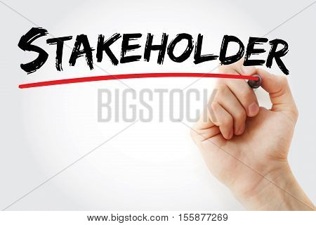 Hand Writing Stakeholder With Marker