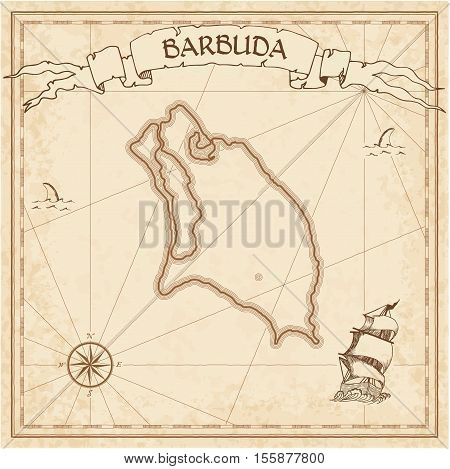Barbuda Old Treasure Map. Sepia Engraved Template Of Pirate Island Parchment. Stylized Manuscript On