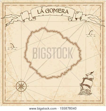 La Gomera Old Treasure Map. Sepia Engraved Template Of Pirate Island Parchment. Stylized Manuscript