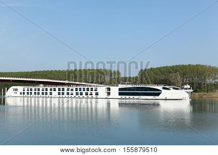 Creches sur Saone, France - September 21, 2015: Cruise on the Saone river in France