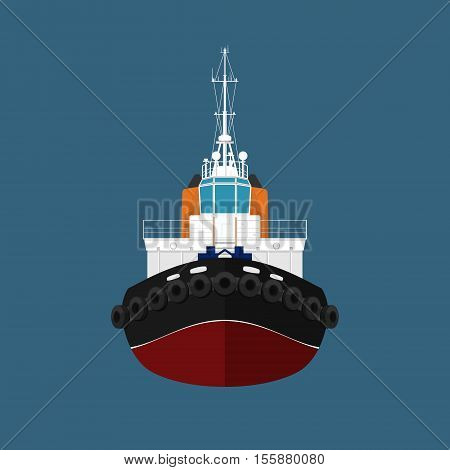 Front View of the Vessel, Tugboat, Push Boat, Tow Boat for to Towage and Mooring of Other Courts, Vector Illustration
