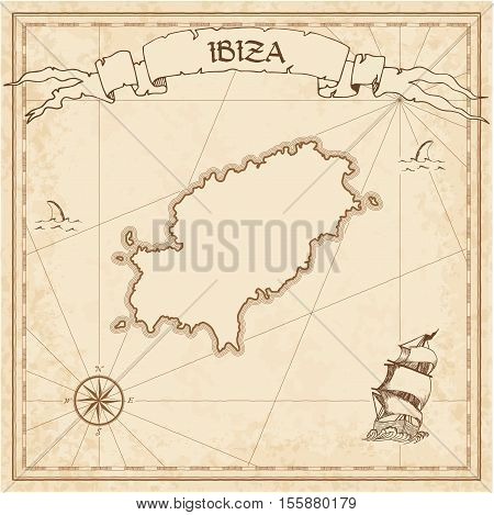 Ibiza Old Treasure Map. Sepia Engraved Template Of Pirate Island Parchment. Stylized Manuscript On V