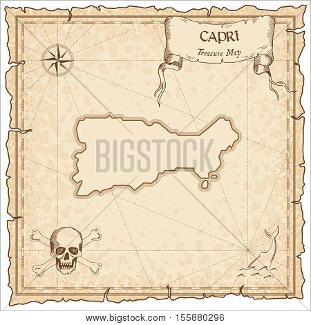 Capri Old Pirate Map. Sepia Engraved Parchment Template Of Treasure Island. Stylized Manuscript On V