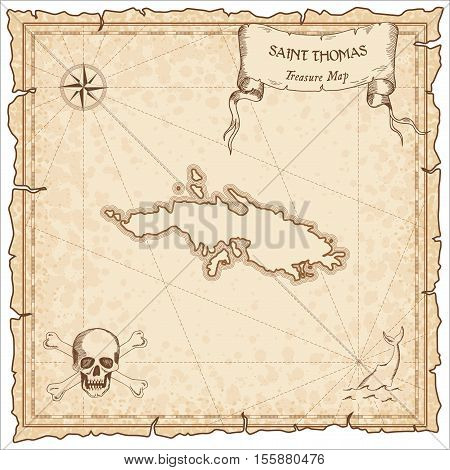 Saint Thomas Old Pirate Map. Sepia Engraved Parchment Template Of Treasure Island. Stylized Manuscri