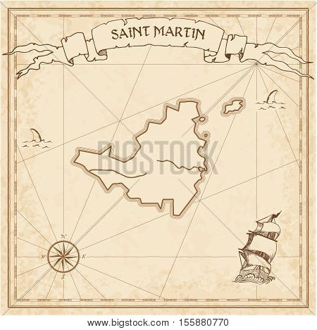 Saint Martin Old Treasure Map. Sepia Engraved Template Of Pirate Island Parchment. Stylized Manuscri