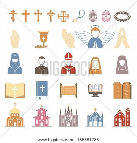 Vector christian religion icons set. Religion icons god cross catholicism religious vector icon. Set peace bible religion icons prayer traditional culture silhouette temple illustration.