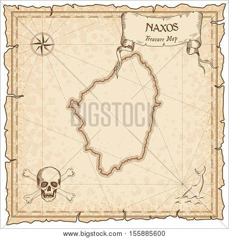 Naxos Old Pirate Map. Sepia Engraved Parchment Template Of Treasure Island. Stylized Manuscript On V