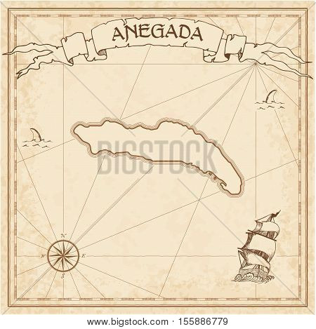 Anegada Old Treasure Map. Sepia Engraved Template Of Pirate Island Parchment. Stylized Manuscript On