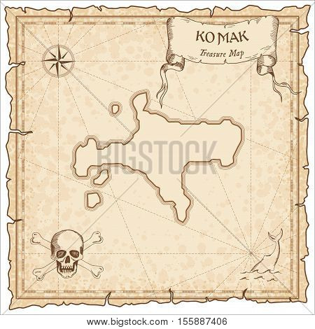 Ko Mak Old Pirate Map. Sepia Engraved Parchment Template Of Treasure Island. Stylized Manuscript On