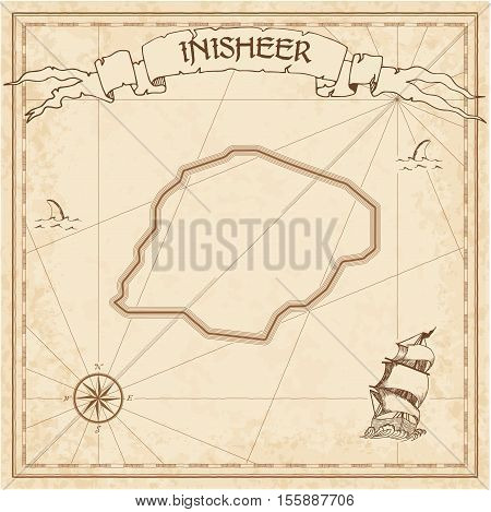 Inisheer Old Treasure Map. Sepia Engraved Template Of Pirate Island Parchment. Stylized Manuscript O
