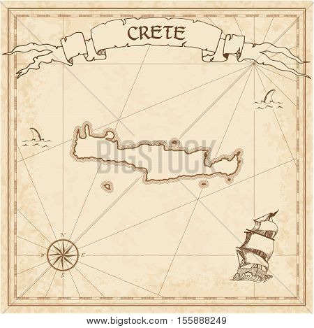 Crete Old Treasure Map. Sepia Engraved Template Of Pirate Island Parchment. Stylized Manuscript On V