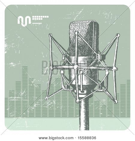 Hand drawing studio microphone